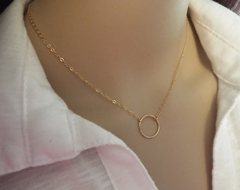 Gold Fill Karma Necklace, Gold Circle Pendant, Simple Jewelry Minimalist Necklace, Gold Jewelry, Gold Necklace, Simple Eternity, Choker