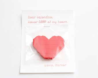 Lego Valentine Card with Red Heart - Never LEGO of my heart - Custom Name
