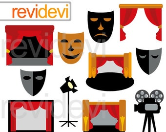 Clipart Drama Theatre sale - mask, curtain,proscenium - movie night - hollywood - clip art commercial use
