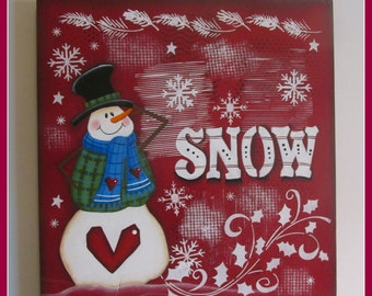 Red Snowman Wall Decoration