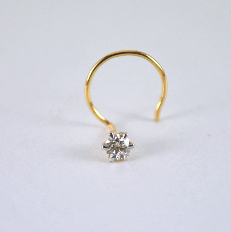 Solitaire Nose Stud Diamond Nose Pin 14K Gold Nose Piercing