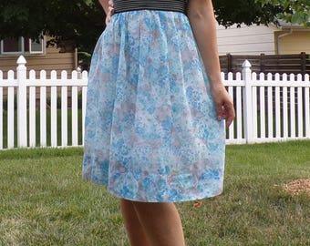 hayes VINTAGE SHEER floral DRESS L 50's 60's 32 waist (D8)
