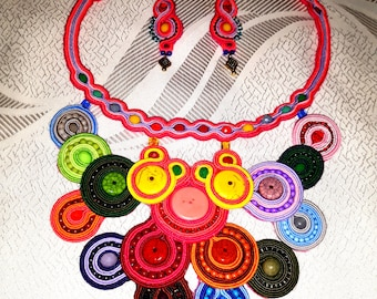 Handmade colorful soutache necklace with earrings sets