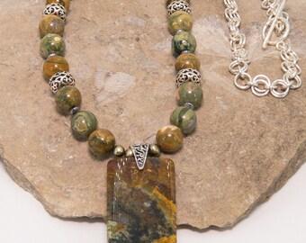 Garden Jasper and Rhyolite Sterling Silver Necklace