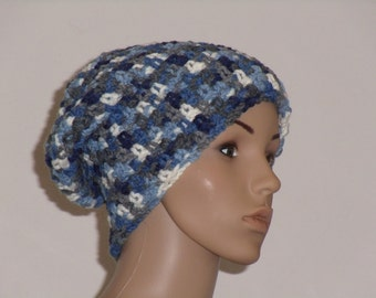 Crochet hat in grey, white, and blue