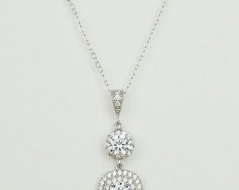Bridal Cubic Zirconia Crystal Necklace, Silver, Rose Gold, 925 Sterling Silver Chain, Teardrops, Celia - Will Ship in 1-3 Business Days