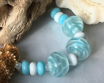 Handmade Lampwork Glass Beads SRA Pale Aqua and White Bloom Encasement Florals (11)