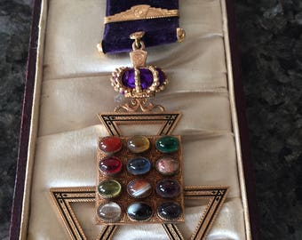 Antique Masonic Grand High Priest Medal Medallion Jewelry 10k Gold Dated 1899