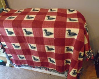Two toned maroon and ivory tied fleece blanket with gray ducks in ivory squares with gray back / fleece duck blanket