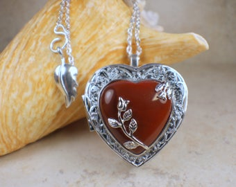Music box pendant etsy red agate chakra music box locket music box locket music box pendant silver aloadofball Gallery