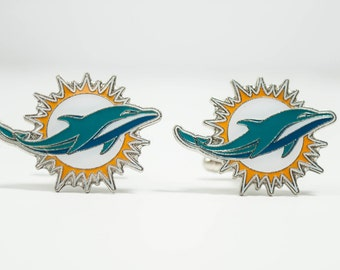 Miami Dolphins Cuff Links -- FREE SHIPPING with USPS First Class Domestic Mail