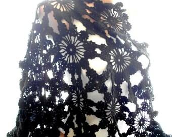 black shawl, handmade shawl, crochet shawl, soft black shawl, lace shawl, shawl wraps, accessories, wedding favor, wedding gown