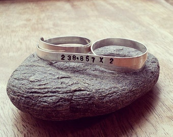 Thin Ring Sterling Silver - Custom, Personalized Two Finger Thin Ring for Stacking