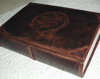 HANDMADE LEATHER JOURNAL, blank book of shadows, engraved  pentacle
