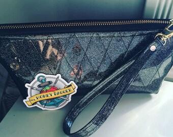Zippered Black Sparkle Vinyl Wristlet/Makeup Bag