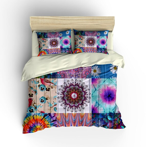 items similar to boho chic bedding duvet cover set gypsy patchwork design twin full queen. Black Bedroom Furniture Sets. Home Design Ideas