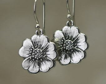 Sterling Silver Flower Earrings, Buttercup Earrings, Sterling Silver Earrings Flower Jewelry Gift, Sterling Silver Jewelry Sterling Earrings