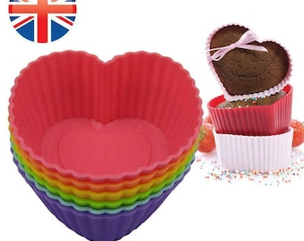 Silicone Heart Shaped Cup Cake Muffin Case x6 Jelly Baking Decorating UK SELLER