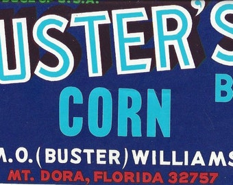 Buster's Blue Corn Vintage Crate Label, 1950s