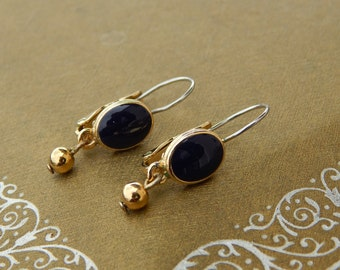 Vintage Navy Blue Enamel Earrings, Drop Dangle Earrings Navy Blue and Gold Tone, Pierced Blue Earrings Leverbacks, Estate Jewelry