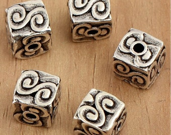 2pcs 8mm 925 Sterling Silver Square Beads lucky cloud / Findings / Spacer, Antique Silver