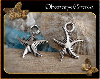 10 starfish charms silver 13x16mm