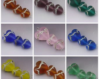 SRA Lampwork Bead Set Handmade Heart Beads Etched Beads Frosted Bead Hearts Orange Purple Teal Blue Pink Yellow Green Heather Behrendt