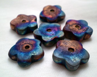 3+ Flower Beads, Raku Beads, Clay Beads, Ceramic Beads, Handmade Beads, Spacer Beads, Rustic Beads, Artisan Beads, Unique Beads (aat)