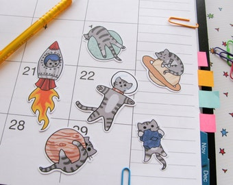 Stickers chat mignon, papier autocollants, journalisation, autocollant flocons, chats mignons, drôle, humour, Silly, papeterie, Scrapbooking, Outer Space I