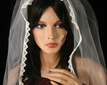 Ivory Veil with lace trim wedding veil waltz length-- Ready to Ship -- SistersEnchanted