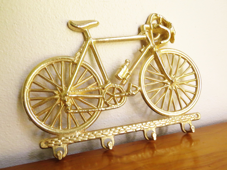 Vintage Brass Bicycle Key Rack Brass Figurine Bicycle