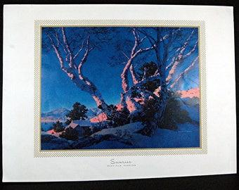 """Parrish Print """"Sunrise"""" (Bright Birches In A Glow) 1955"""