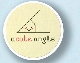 Acute Angle Cross Stitch Pattern. Pun Modern Simple Cute Counted Cross Stitch PDF Pattern. Instant Download