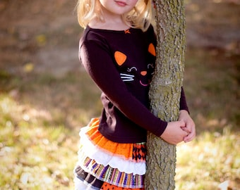 Halloween Skirt, Fall Skirt, Black, Orange, Purple, and Green Skirt, Sizes 6 months through size 14