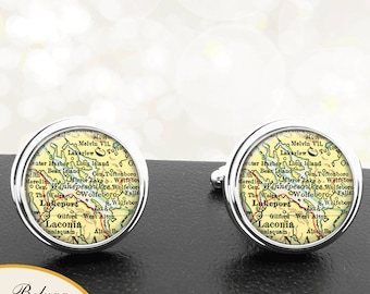 New Hampshire Cufflinks / Map Cuff Links / Lake Winnipesaukee / Wedding Cufflinks / Gifts For Groomsmen Groom Best Man Anniversary Men  / NH