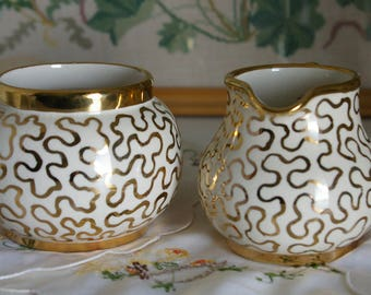 Stunning Sudlow's Burslem Gold Cornelli Lace Creamer and Sugar bowl