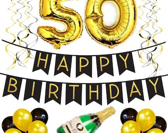 50th Birthday Party Pack – Black & Gold Happy Birthday Bunting, Poms, and Swirls Pack- Birthday Decorations – 50th Birthday Party Supplies