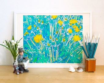 Dandelions in meadow serigraph - flowers serigraph - dandelion art - dandelion flowers - flowers screen print - floral print  meadow flowers