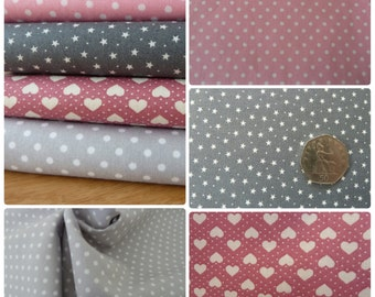 Grey and Pink Fabric Fat Quarter Bundle - 4 Piece - 100% Cotton Poplin. Hearts, Stars & Polka Dot. For Quilting, Dressmaking, Crafts.