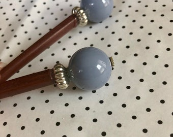 Slate Cornflower Blue Beaded Hair Stick
