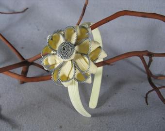 Yellow Flower Headband - Zipper Flower - Zipper Headband - Upcycled - Recycled - Repurposed - Girls Headband -Womens Headband -Baby Headband