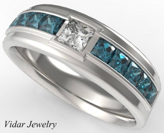 Mens Wedding BandBlue Diamonds wedding Ring For A MenUnique