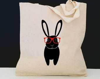 Personalized Bunny Tote Bag (FREE SHIPPING), 100% Cotton Canvas Bunny Tote Bag, Bunny Tote Bag,Bunny Gift,Bunny Tote,Black Bunny Tote,Rabbit