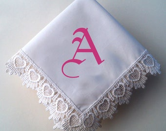Monogrammed lace wedding handkerchief, print handkerchief, bridal handkerchief, wedding hankie, wedding favor, personalize, gift boxed