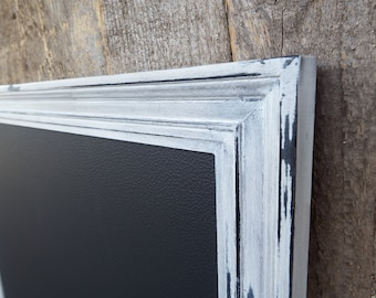 Kitchen Chalkboard - Shabby Chic Magnetic Chalkboard Heavily Distressed White Black Vintage Style Frame -Magnetic Board -