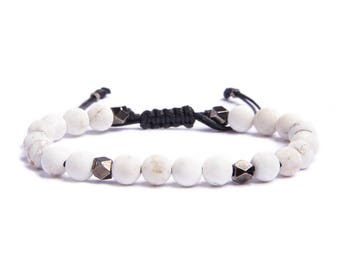 Men's beaded bracelet - Father's Day Gift - White howlite and gunmetal beads - Sliding knot bracelet - Adjustable one size fits all For Him