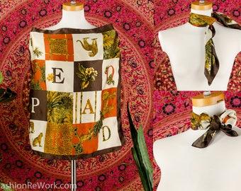 LEOPARD Silk Scarf Natural Safari Style Graphic ANIMAL Silk Accessory