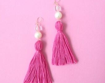 Bright pink tassel earrings, hot pink dangly earrings, shell pearl statement earrings, gold earrings, festival style, pastel tassel earrings