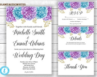 Floral wedding invitation template, Hydrangea Wedding Invitation, Wedding Template, Floral Wedding Template, Editable Template, Boho, Rustic