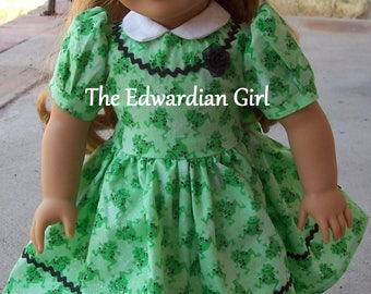 Two of a kind 1930s, 1940s green frog glitter dress with ric rac for 18 inch play dolls such as American Girl, Springfield, OG. Made in USA